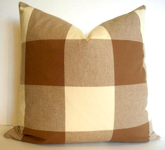 Brown Check Throw Pillows : OVERSIZED Brown Check Pillow Cover Brown Buffalo Check Brown