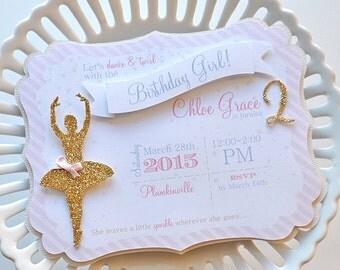 Girl's Shabby Chic Pink & Gold Ballerina Invitation