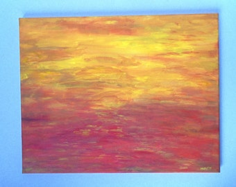 "original abstract sunset / sunrise painting, acrylic on canvas, 16"" x 20"", red, orange, yellow, free u.s. shipping"