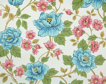 Retro Wallpaper by the Yard 70s Vintage Wallpaper - 1970s Pink and Blue Flowers and Green Leaves on White
