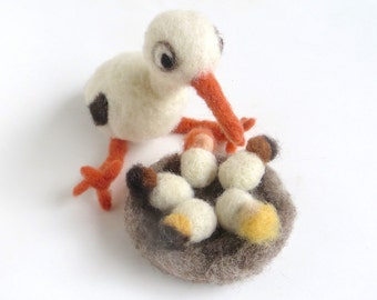 """Felt stork with a nest & 5 babies """"Motherhood"""", organic wool, natural dye, felted, white, red, black, yellow, brown, OOAK, one of a kind"""