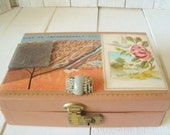 Vintage jewelry box pink embellished findings photos science illustration postcard jewelry