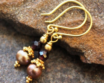 Garnet Earrings with Sand Freshwater Pearls - Vermeil - Artisan Earrings - Bali Earrings - Garnet Earrings - Classic - Handcrafted Jewelry