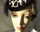 Woman's Hat, Woman's Fascinator, Leopard Fascinator, Tilt Hat, Faux Fur Hat, Retro Fascinator,  Velvet Fascinator, Fur hat Fur Fascinator