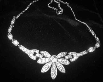 Vintage Stunning Art Deco Paved Set Rhinestone Necklace from the 1940s