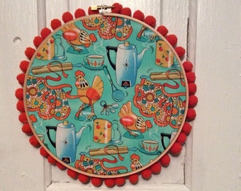 Embroidery Hoop Art 8 inch retro vintage kitchen theme wall art