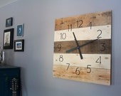 Large Reclaimed Wood Clock. 26 in by 26.  MODERN meet RUSTIC Hip. Natural wood and ivory. Pallet Wood Wall Clock. Home Decor.  Custom Color.