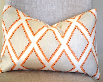 Decorative Throw Pillow, 14 by 20 in Kravet Brookhaven in Coral, geometric design (Cover only)