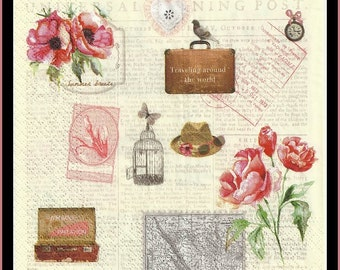 4 Napkins Use For Decoupage, Mixed Media, Scrapbooking, Collage And Altered Art Projects