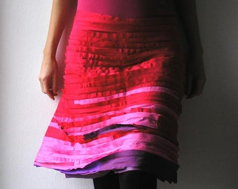 Skirt,red-pink combination, cotton