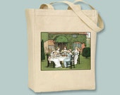 The Tea Party, Kate Greenaway Illustration NATURAL or BLACK Canvas Tote - Selection of sizes available