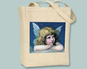 Beautiful Girl Angel with Star Background on Natural or Black Tote -- Selection of sizes available