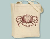 Vintage Crab Illustration Canvas Tote  - Selectiion of sizes and image colors available