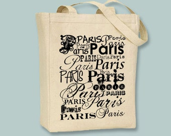 Paris Typography Canvas Tote  - Selection of sizes, ANY COLOR image