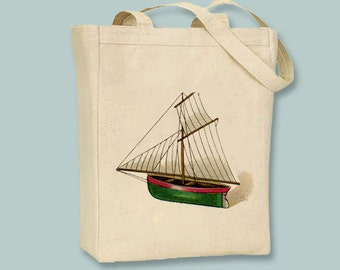 Vintage Sailboat illustration on Canvas Tote -- Selection of  sizes available