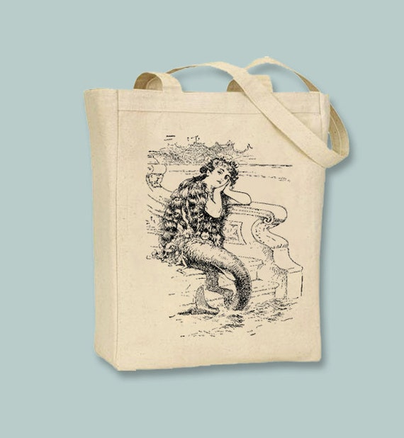 Gorgeous Vintage Mermaid on Steps Canvas Tote  - Selection of sizes, image in ANY COLOR