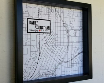 Custom Wedding Gift FRAMED Map Art Personalized City Map Art Gift for Couple Wedding Location Special Dates