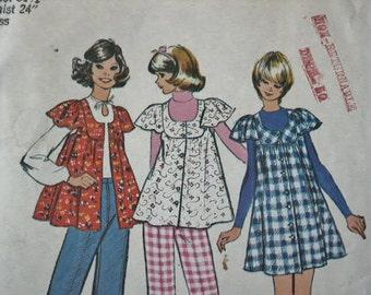 Vintage 70s Hippie Era Boho Simplicity Mini Smock Top Apron  or Jumper & Wide Leg Pants 5429 Sewing Pattern 3483  Size 8 Bust 31 1/2 UNCUT