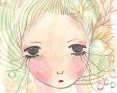 Sad Girl ACEO Original ATC 2.5 x 3.5 Unbroken