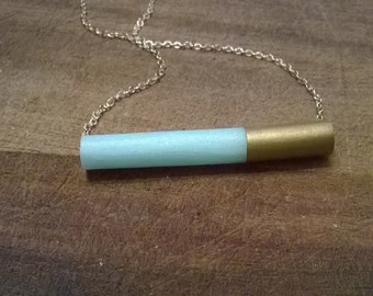 Tube Bar Gold Mint and Gray Necklace
