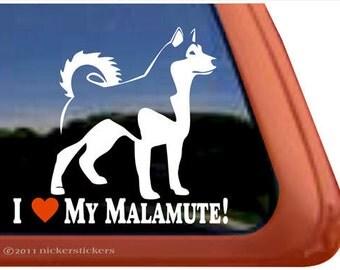 I Love My Malamute | DC306HEA | High Quality Alaskan Malamute Dog Adhesive Vinyl Window Decal Sticker