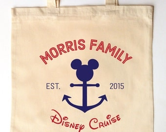 Disney Cruise Family Vacation - Custom Printed Family Vacation Tote Bag Personalized Children's Gift - Vintage Disney Theme Gifts