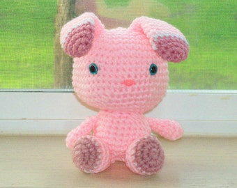 Two-Toned Bunny- Light Pink and Country Rose Crochet Doll (Finished Doll)