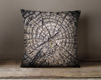 Tree Pillow, Brown Decorative Pillows, Tree Ring Nature Decor, Nature Pillow, Brown Pillow Cover - 16x16, 18x18, or 20x20 Throw Pillow