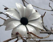 Vintage Enamel Flower Brooch  White Pointyish Petals and a Bumpy Black Center Pin Forever Floral Corsage Pin