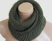 infinity scarf, cowl, neck warmer, Circle Scarf, soft, hand knit, unisex, women, Men, Tweed