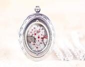 Cherry Blossom Jewelry Locket - Silver Flower Jewelry, Spring Flower Locket, Silver Floral Locket, Nature Jewelry, Cottage Chic Locket