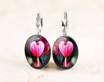 Bleeding Heart Earrings - Pink Flower Earrings, Nature Earrings, Pink Heart Jewelry, Garden Flower Jewelry, Garden Jewelry, Garden Earrings
