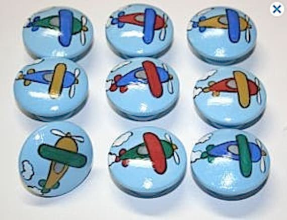 Airplane Drawer Pulls / Dresser Knobs / Closet Handles / Hand Painted for Kids Rooms and Nursery Rooms