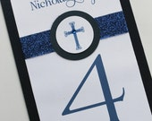 Baptism-Communion Table Number Card with Band and Circular Cross Label