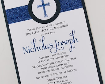 Boy Navy Blue Baptism-Communion Invitation with Band and Circular Cross Label