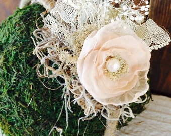 Vintage champagne and moss headband
