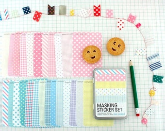 Masking Sticker Set - ver. pastel (Tin Case)