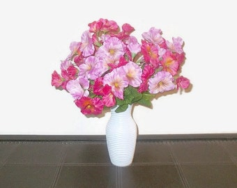 Spring Pansy Floral Arrangement Variegated Pink/Lilac and Deep Fuchsia Pansies In A White Painted Glass Vase