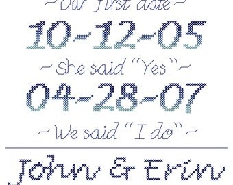 Modern Wedding Cross Stitch Pattern Important Dates in Our Lives