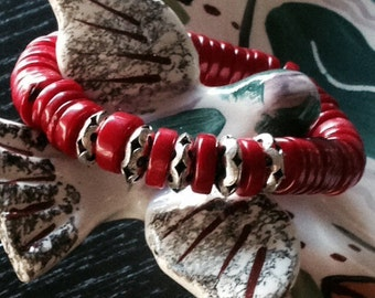 Coral Rondelle and German Silver Elastic Bracelet