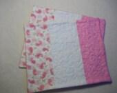 Valentine Pink and White, Paisleys and Hearts  Mug Rugs