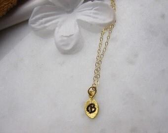 Leaf Charm necklace, 14k gold filled necklace, gold filled, gold tiny leaf charm, Personalized leaf necklace