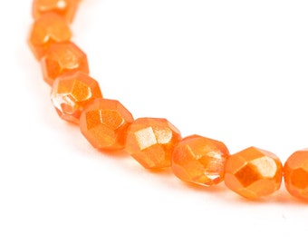 25 ORANGE HYACINTH LUSTER Round Fire Polished Czech Glass Beads  6mm   bgl0834