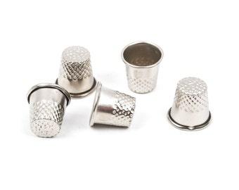 10 Silver Metal Sewing THIMBLES tol0290