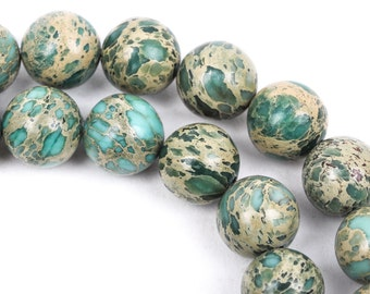 10mm AQUA TERRA JASPER Round Gemstone Beads, natural, mint green, tan, full strand gja0059