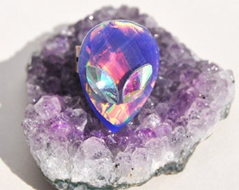 Blue Aurora Borealis Crystal Alien Ring Aurora Iridescent Aliens Coachella Festival Fashion
