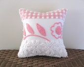 pink pillow cover 12 X 12 RECLINING ROSE pink cushion cover cottage chic roses shabby style