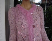 coat in shades of pink wedding embroidered with swarovski crystals ready to ship women clothing for winter by goldeyarn