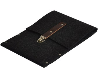 MacBook 12 Bag, Sleeve, Case, Briefcase black synthetic felt and real leather strap