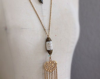 Itahari Necklace Long Length Boho Style Tibetan Bead